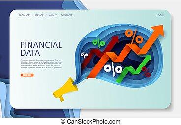 Finanzdaten Vektor Website Landing Page Design Vorlage
