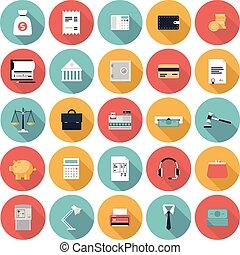 Finanzen und Markt Flach-Icons gesetzt
