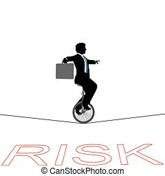 finanzielles risiko, geschaeftswelt, aus, drahtseil, unicycle, mann