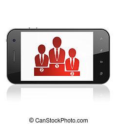 Finanzkonzept: Business-Team auf Smartphone