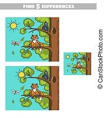 Finde Unterschiede, Fuchs und Krähe
