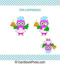 Finden Sie Unterschiede beim Kindertraining. Kartoon Eule mit Kuchen