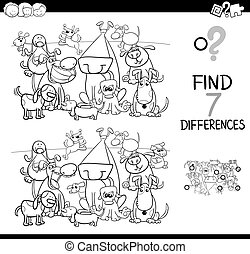 Finden Sie Unterschiede mit Hundefarbenbuch.