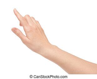 Finger berühren virtuellen Bildschirm isoliert