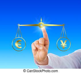 Finger gleicht den Euro mit dem Yen-Schild