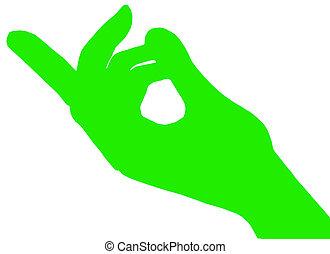 finger, grün, zuwinken