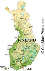 finnland, landkarte, physisch