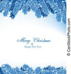 Fir blauer Weihnachtsrahmen.