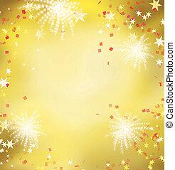 Firework Feier goldenen Hintergrund.Celebrating golden und rot Thema für Festival und Feiertag