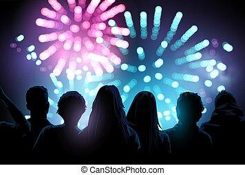firework, gruppe, aufpassen, textanzeige, groß, leute