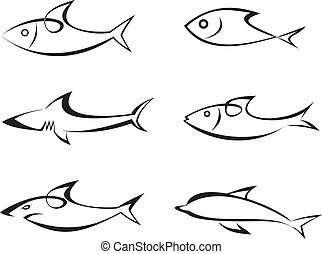 Fisch - ein Set Vektor-Ikonen