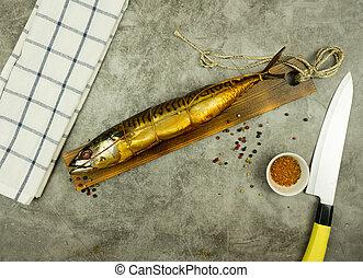 fische, geräuchert, appetitanregend, board., kueche , gewürz