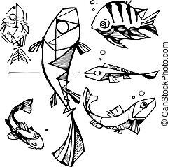 fische, gezeichnet, vektor, abbildung, hand