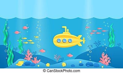 fische, riff, szene, style., underwater, marine, koralle, landschaftsbild, karikatur, vektor, submarine., papier, seegräser, schnitt, wasserlandschaft