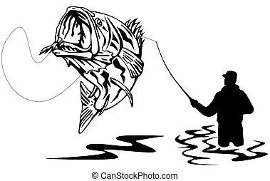 Fischer fangen einen Bass
