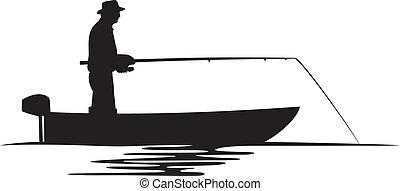 Fischer in einer Bootssilhouette