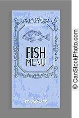 Fischmenü mit Bassdarstellung und Twirl Dekoration