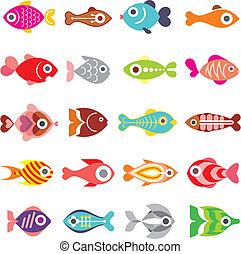 Fischvektor Icon Set