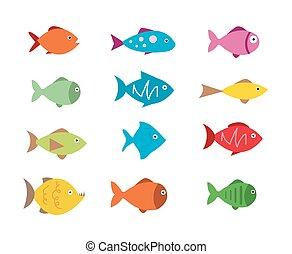 Fish Icons setzen Vektorgrafik.