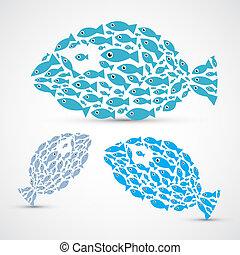 Fish shaped abstrakt Fish set Illustration.