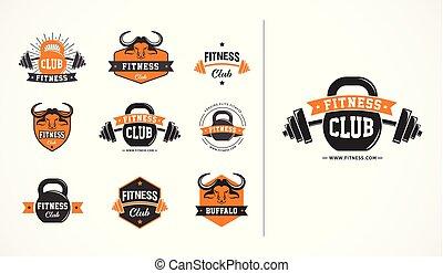 Fitness Club, oder Fitness-Logo, Emblem, Symbole Sammlungen.