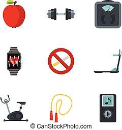 Fitness, Diät und gesunde lebende Icons sind gesetzt