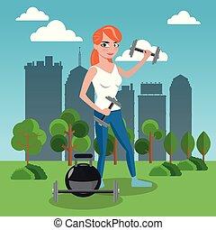 Fitness-Frau im Park.