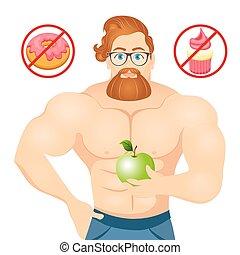 Fitness-Konzept mit Sport Bodybuilder beardierter Hipster mit Brille und rotem Haar. Muskelfitness-Modelle. Nutzbare und schädliche Lebensmittel. Vector Illustration isoliert auf weißem Hintergrund.