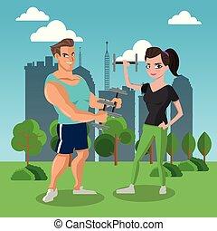 Fitness-Leute im Park.