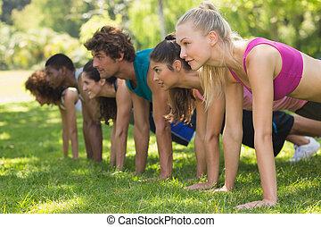 Fitness-Leute machen Liegestützen im Park.