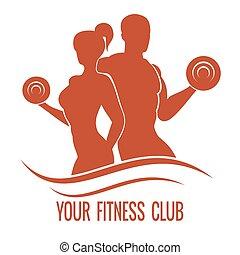 Fitness-Logo mit Muskeln und Frauen Silhouetten