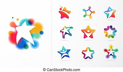 fitness, logos., vektor, design, stern, lernen, sport, heiligenbilder, vorzüglichkeit
