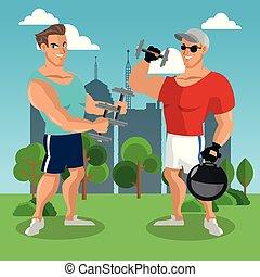 Fitness-Männer im Park.