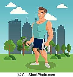 Fitness-Mann im Park.
