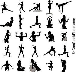 Fitness-Silhouetten bereit.