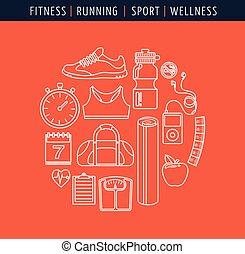 Fitness und Fitness, flache Ikonen.