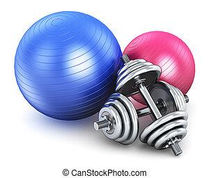 Fitness und Sportausrüstung.