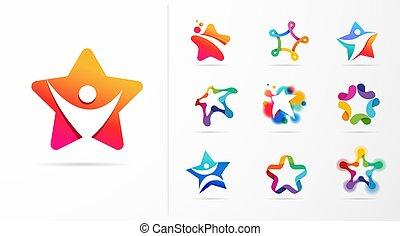 fitness, vektor, vorzüglichkeit, logos., design, lernen, stern, heiligenbilder, sport