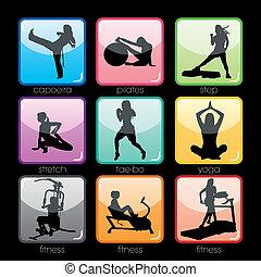 Fitnessknöpfe eingestellt