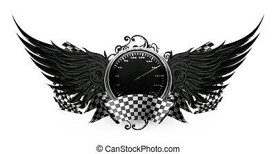 Flügel schwarz, Rennemblem eps10