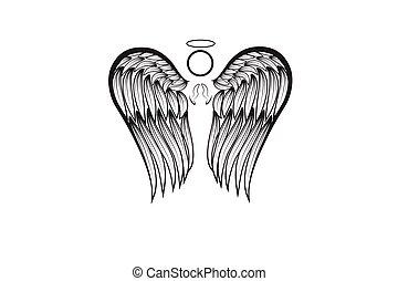 flügeln, logo, engel beten