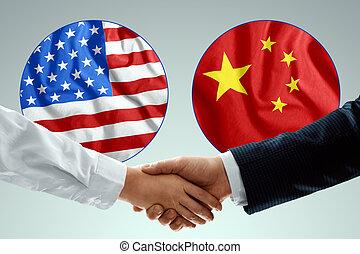 flag., partnerschaft, porzellan, staaten, zuammenarbeit, freundschaft, peoples., begriff, amerika