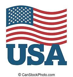 Flagge USA. Amerikas Flagge auf weißem Hintergrund entwickeln. Patriotische Illustration. Nationalstaatssymbol von Amerika. Unterzeichnen vereinte Staaten