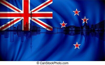 Flagge von neuem Zealand mit Auckland Skyline.