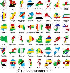 flaggen, afrikanisch, landkarte, details, form