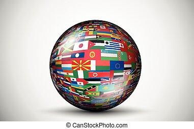 Flaggen aller Länder in Form von Sphären.