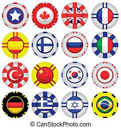 Flaggen auf Casinospielsteinen.