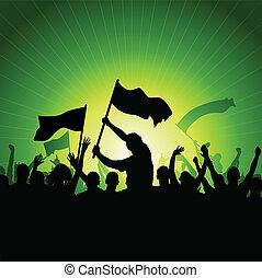 flaggen, crowd, glücklich