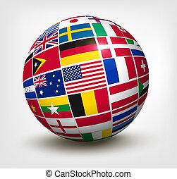 Flaggen der Welt auf der Welt. Vektor Illustration.