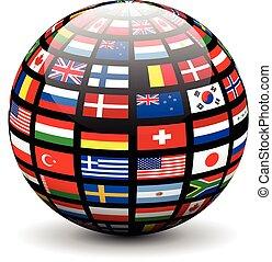Flaggen der Welt auf einem Globus.